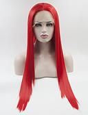 povoljno Luksuzni satovi-Prednja perika od sintetičkog čipke Ravan kroj Stil Slobodni dio Lace Front Perika Crvena Sintentička kosa 18-26 inch Žene Prilagodljiv Čipka Otporan na toplinu Crvena Perika Dug