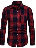 levne Pánské košile-Pánské - Kostičky Business Košile Černá L / Dlouhý rukáv