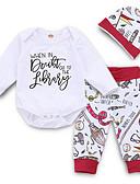 Χαμηλού Κόστους Βρεφικά φορέματα-Μωρό Κοριτσίστικα Ενεργό Καθημερινά Στάμπα Μακρυμάνικο Κανονικό Πολυεστέρας Σετ Ρούχων Λευκό