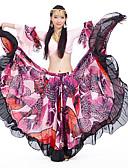 economico Abbigliamento danza del ventre-Danza del ventre Completi Per donna Addestramento / Prestazioni Chiffon / Misto cotone / sintetico Motivo floreale di perle / Con balze strutturate Manica lunga Naturale Gonne / Top