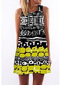 זול שמלות נשים-מעל הברך דפוס, גיאומטרי - שמלה חולצה רזה בסיסי בגדי ריקוד נשים