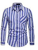 お買い得  メンズブレザー&スーツ-男性用 シャツ ストリートファッション ストライプ ブルー L / 長袖