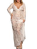 cheap Robes & Sleepwear-Women's Plus Size Sexy Lace Lingerie / Robes / Ultra Sexy Nightwear - Lace, Gift Solid Colored / V Neck