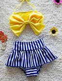 levne Dívčí plavky-Děti Dívčí Sport Jednobarevné Bez rukávů Bavlna / Polyester Plavky Žlutá