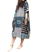 cheap Casual Dresses-Women's Daily Basic A Line Dress - Geometric Print Spring Navy Blue Gray XXXL XXXXL XXXXXL