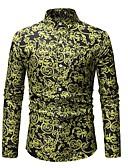 お買い得  メンズシャツ-男性用 ビーチ - プリント シャツ ベーシック フラワー / カラーブロック コットン グリーン XL / 長袖