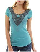hesapli Tişört-Kadın's Tişört Solid / Geometrik Temel Siyah / Bahar / Yaz / Sonbahar