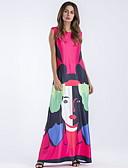 abordables Manteaux & Trenchs pour Femme-Femme Maxi Mince Trapèze Robe - Imprimé, Géométrique Bleu Rouge S M L Sans Manches