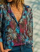 abordables Chemises Femme-Chemise Femme, Fleur Col de Chemise Bleu