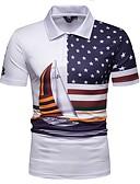 """זול חולצות פולו לגברים-גראפי צווארון חולצה וינטאג' האיחוד האירופי / ארה""""ב גודל Polo - בגדי ריקוד גברים דפוס לבן / שרוולים קצרים"""