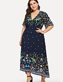 رخيصةأون فساتين قياس كبير-المرأة بالاضافة الى حجم ميدي اللباس اليومي سوينغ الخامس الرقبة القطن الأزرق الداكن xl xxl xxxl xxxxl