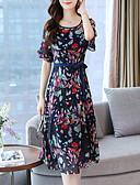 hesapli Mini Elbiseler-Kadın's Pamuklu A Şekilli Elbise Midi