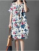 hesapli Print Dresses-Kadın's Pamuklu A Şekilli Elbise Diz-boyu Yüksek Bel / Sexy