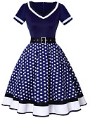 cheap Vintage Dresses-Women's Polka Dot Plus Size Daily Going out Vintage A Line Dress - Polka Dot High Waist V Neck Fall Red Navy Blue Wine L XL XXL / Sexy