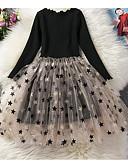 お買い得  女児 ドレス-子供 女の子 ベーシック ソリッド / 水玉 / 波点 長袖 ドレス ライトブラウン