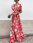 povoljno Maxi haljine-Žene Puff rukav  Slim Swing kroj Haljina Cvjetni print Duboki V Maxi