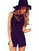 זול טישרט-ללא שרוולים M L XL תחרה אחיד, Rompers ישר לבן שחור סגנון רחוב בגדי ריקוד נשים