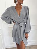 זול שמלות נשים-V עמוק מעל הברך פפיון קפלים, אחיד - שמלה חולצה בגדי ריקוד נשים