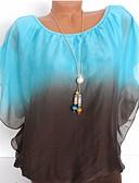 baratos Camisetas Femininas-Mulheres Blusa Frufru / Estilo Borboleta, Estampa Colorida Delgado / Primavera / Verão / Outono