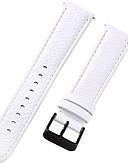 hesapli Saat Aksesuarları-Gerçek Deri / Deri / Buzağı Tüyü Watch Band kayış için Beyaz 17cm / 6.69 inç / 18cm / 7 İnç / 19cm / 7.48 İnç 1cm / 0.39 İnç / 1.2cm / 0.47 İnç / 1.3cm / 0.5 İnç