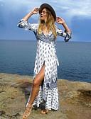 tanie Print Dresses-Damskie Szczupła Linia A Sukienka - Kolorowy blok, Nadruk Głęboki dekolt w serek Maxi