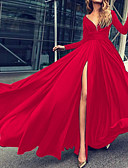 cheap Prom Dresses-Maxi Dress A-Line Plunging Neck Floor Length Chiffon Dress with Split Front by LAN TING Express