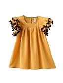tanie Sukienki dla niemowląt-Dziecko Dla dziewczynek Podstawowy Codzienny Solidne kolory Krótki rękaw Regularny Regularny Nad kolano Bawełna Sukienka Żółty