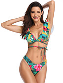 cheap Bikinis-Women's Basic Boho Plunging Neck Green Triangle Cheeky Bikini Swimwear - Floral Color Block Backless Ruffle Lace up S M L Green / Print / Super Sexy