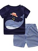 billige Sett med Gutter babyklær-Baby Gutt Grunnleggende Daglig BLå & Hvit Jacquardvevnad Kortermet Kort Kort Bomull Tøysett Navyblå