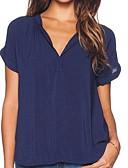 billige T-skjorter til damer-V-hals T-skjorte Dame - Ensfarget Vin