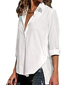 ieftine Bluză-Pentru femei În V - Mărime Plus Size Cămașă Mată Roșu-aprins