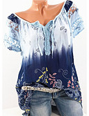baratos Camisetas Femininas-Mulheres Tamanhos Grandes Camiseta Floral Decote V