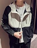 cheap Men's Belt-Men's Daily Street chic Regular Jacket, Color Block / Letter Hooded Long Sleeve Polyester Black / Beige XL / XXL / XXXL