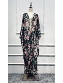 hesapli Kadın Elbiseleri-Kadın's Tatil Sokak Şıklığı Zarif Yarasa Kol Salaş Abaya Kaftan Elbise - Çiçekli, Desen Maksi Yüksek Bel Güneş çiçeği