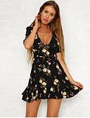 cheap Women's Dresses-Women's Daily Slim A Line Dress - Floral Print Deep V Black M L XL