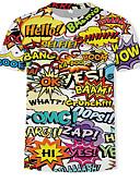 billige T-shirts og undertrøjer til herrer-Herre - Farveblok / 3D / Bogstaver Trykt mønster T-shirt