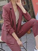 hesapli Suit-Kadın's Suit, Çizgili Çentik Yaka Polyester Siyah / Gri / Şarap M / L / XL
