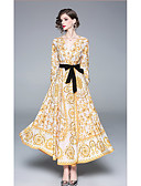 preiswerte Maxikleider-A-Linie V-Wire Ausschnitt Knöchel-Länge Jersey Kleid mit Schärpe / Band durch LAN TING Express
