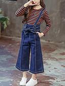 お買い得  女児 ドレス-子供 女の子 活発的 / ストリートファッション 日常 / お出かけ ストライプ ドローストリング 長袖 レギュラー レーヨン アンサンブル ブルー