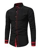 cheap Men's Ties & Bow Ties-Men's Cotton Shirt - Color Block Black XL