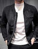 ราคาถูก แจ็กเก็ต &เสื้อโค้ทผู้ชาย-สำหรับผู้ชาย ทุกวัน พื้นฐาน ตก ปกติ แจ๊คเก็ต, สีพื้น คอกลม แขนยาว เส้นใยสังเคราะห์ สีดำ / สีเทา / สีกากี XL / XXL / XXXL