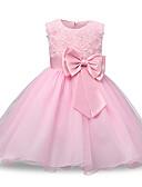 hesapli Elbiseler-Prenses Taşlı Yaka Midi Dantelalar / Tül Çiçek Yaprakları / Fiyonk / Kemer ile Çiçekçi Kız Elbisesi tarafından LAN TING Express