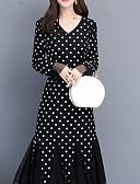 זול שמלות מקרית-צווארון V מידי דפוס, מנוקד - שמלה סווינג רזה בסיסי בגדי ריקוד נשים