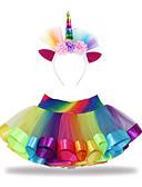 hesapli Kız Çocuk Etekleri-Çocuklar Toddler Genç Kız Actif Temel Unicorn Kırk Yama Dantel Pamuklu Etek Gökküşağı