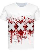billige T-shirts og undertrøjer til herrer-Rund hals Herre - Farveblok / 3D Trykt mønster Basale / Gade Natklub T-shirt Hvid XXXL / Kortærmet