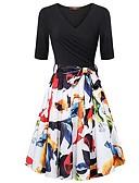 hesapli Kadın Elbiseleri-Kadın's A Şekilli Elbise V Yaka Diz-boyu