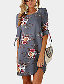 cheap Print Dresses-Fashion A Line Dresses Women's Street chic Elegant Shift Dress - Floral Gray Wine Khaki XXXL XXXXL XXXXXL