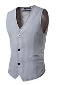 hesapli Erkek Blazerları ve Takım Elbiseleri-Erkek Vesta, Çizgili V Yaka Polyester Siyah / Gri L / XL / XXL