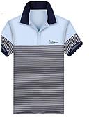 hesapli Bluz-Erkek Gömlek Yaka Polo Çizgili Açık Mavi