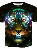 hesapli Erkek Tişörtleri ve Atletleri-Erkek Pamuklu Yuvarlak Yaka Tişört Desen, 3D / Hayvan Gökküşağı